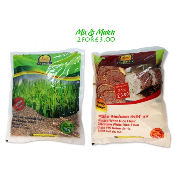 Ulavan Boiled Rice 1Kg & Ulavan Roasted White Rice Flour 1Kg  (mix & Match Deal)