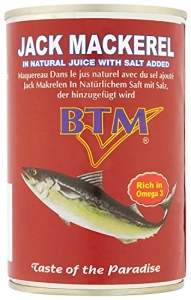BTM Jack Mackeral In Natural Juice with Salt 425g Offer  2 for £2.99